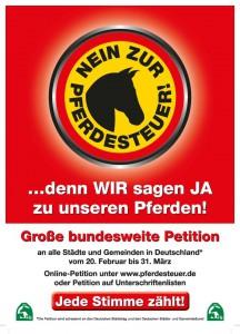Petition gegen die Einführung einer Pferdesteuer