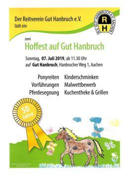 Plakat Hoffest Gut Hanbruch 2019